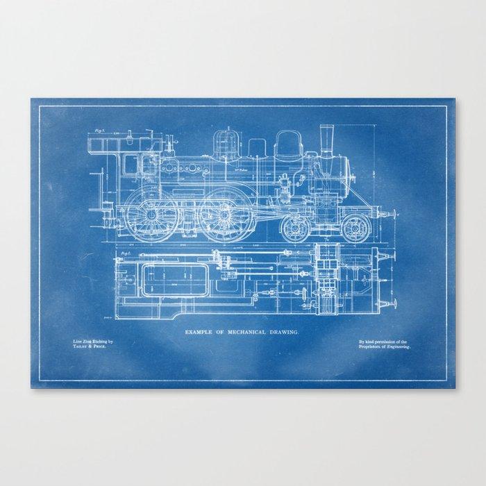 Steam Train Diagram - Blueprint Style Canvas Print