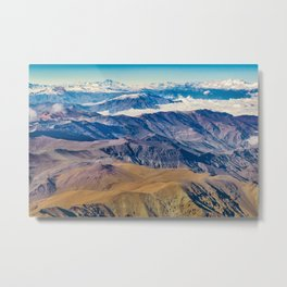 Andes Mountains Aerial View, Chile Metal Print
