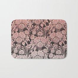 Elegant vintage black faux pink glitter floral pattern Bath Mat