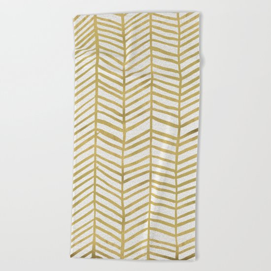 Gold Herringbone Beach Towel
