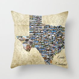 Texas County Courthouse Mosaic Throw Pillow