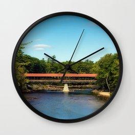 Saco River, New Hampshire Covered Bridge Wall Clock