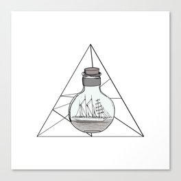 Graphic . Geometric shape black ship in a bottle . Triangle Canvas Print