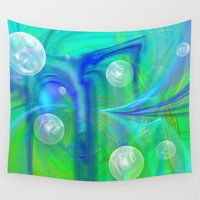bubbles Wall Tapestries featuring Bubbles by Roger Wedegis
