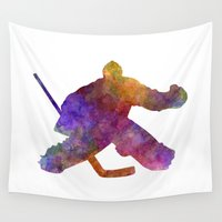 hockey Wall Tapestries featuring Hockey porter in watercolor by Paulrommer