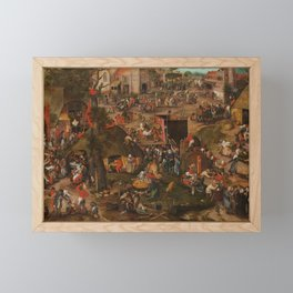 A Flemish Fair with a Performance of the Farce 'A Cluyte from Plaeyerwater', Peeter Baltens, c. 1570 Framed Mini Art Print