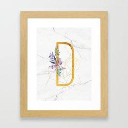 Modern glamorous personalized gold initial letter D, Custom initial name monogram gold alphabet prin Framed Art Print
