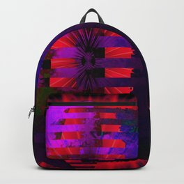 Purple Layered Star in Red Flames Backpack