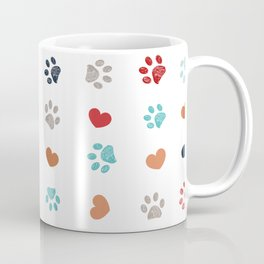 Doodle red, orange, grey and turquoise small paw prints with hearts seamless fabric design pattern vector Coffee Mug