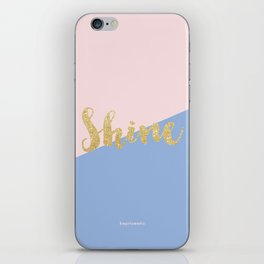 Pantone Rose Quartz and Serenity with Gold Glitter Shine iPhone Skin