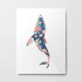 Floral Humpback Blue Whale Floral Fantasy Watercolor Painting Metal Print