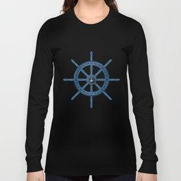 Ship Wheel Blue Rudder Long Sleeve T-shirt
