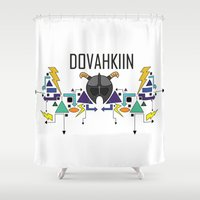 skyrim Shower Curtains featuring Skyrim: The Dovahkiin - BLUE by E_Nicholson