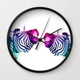 Rainbow Zebras Wall Clock