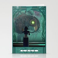 bioshock infinite Stationery Cards featuring Art Nouveau Bioshock Infinite - Elizabeth and Songbird by Sabtastic