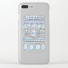 Diemond Rings on Light Pink Clear iPhone Case