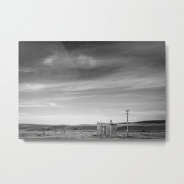 Shelter on the Tekapo to Pukaki Road (Black & White) Metal Print