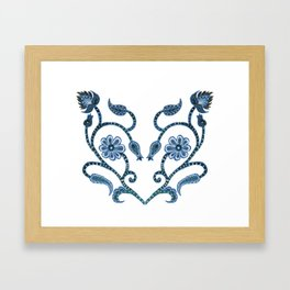 Blue Paisley Heart Framed Art Print