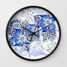 Grunge Blue Acrylic Flowers Wall Clock