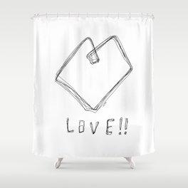 Love! Love! Love! - Heart Illustration Pop Art Shower Curtain