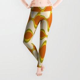 Retro Psychedelic Wavy Pattern in Orange, Yellow, Olive Leggings
