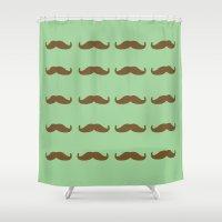 moustache Shower Curtains featuring Moustache  by Rjvita