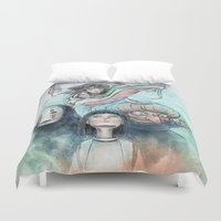 spirited away Duvet Covers featuring Spirited Away Watercolor Painting by Barrett Biggers