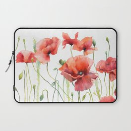 Spring Poppies Papaver Meadow Red Poppies White and Red Watercolor Laptop Sleeve