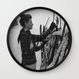 Women Vintage Ski Art, Ski Home Decor, Antique Ski, Ski Lodge Wall Decor poster Wall Clock