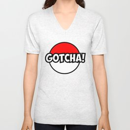 Poke Go Gotcha! Ball Design Unisex V-Neck