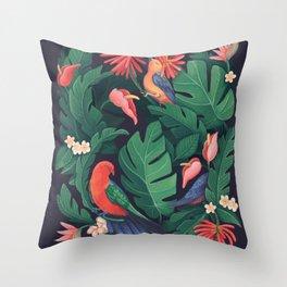Midnight Bird Jungle Throw Pillow