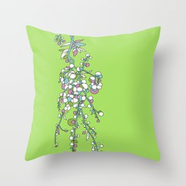 1950s / 1960s Retro Floral Flower Stem Pattern Throw Pillow