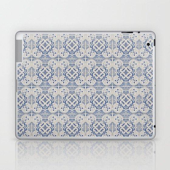 Vintage blue tiles pattern Laptop & iPad Skin