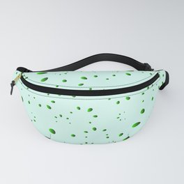A lot of drops and petals on a green background in nacre. Fanny Pack
