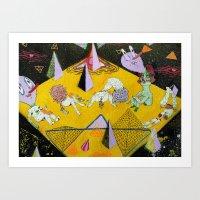 plain Art Prints featuring space plain by Kira Leigh