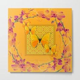 Golden Butterflies Pattern Purple-Pink Orchids Gold Art Metal Print