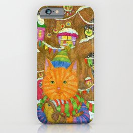 Ginger kitten and bird in the fairy Christmas forest. iPhone Case