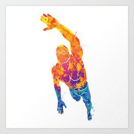 Watercolor Swimmer Sports Art Print