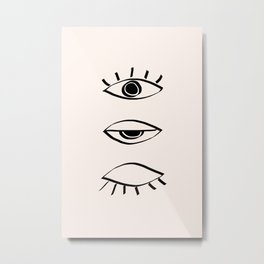 3 boho eyes open and closed Metal Print