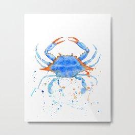 Watercolor blue crab paint splatter Metal Print