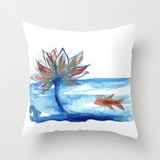 The Lotus and the Goldfish Throw Pillow