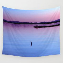 Water landing at sunset Wall Tapestry