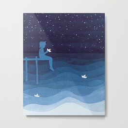 Boy with paper boats, blue Metal Print