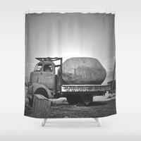 potato Shower Curtains featuring Spud Potato by Jane Lacey Smith