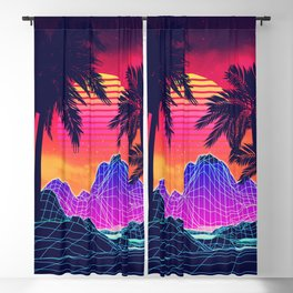 Neon glowing grid rocks and palm trees, futuristic landscape design Blackout Curtain