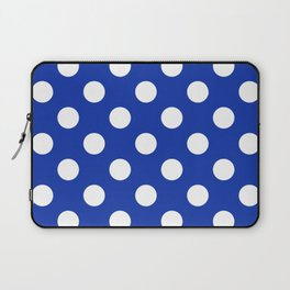 Egyptian blue - White Polka Dots - Pois Pattern Laptop Sleeve