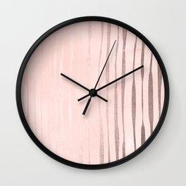 Rose Gold Pastel Pink Vertical Stripes Wall Clock