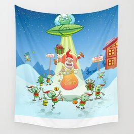 Santa Claus Abducted by a UFO just before Christmas Wall Tapestry