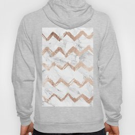 Chic faux rose gold chevron white marble pattern Hoody