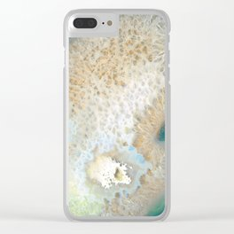 agate, quartz, crystal stone beige gold turquoise Clear iPhone Case